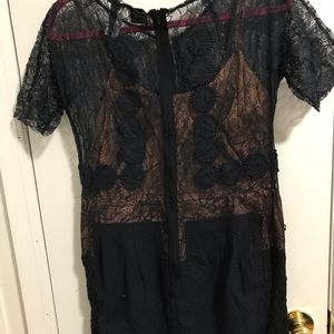 Navy lace corset style cocktail dress